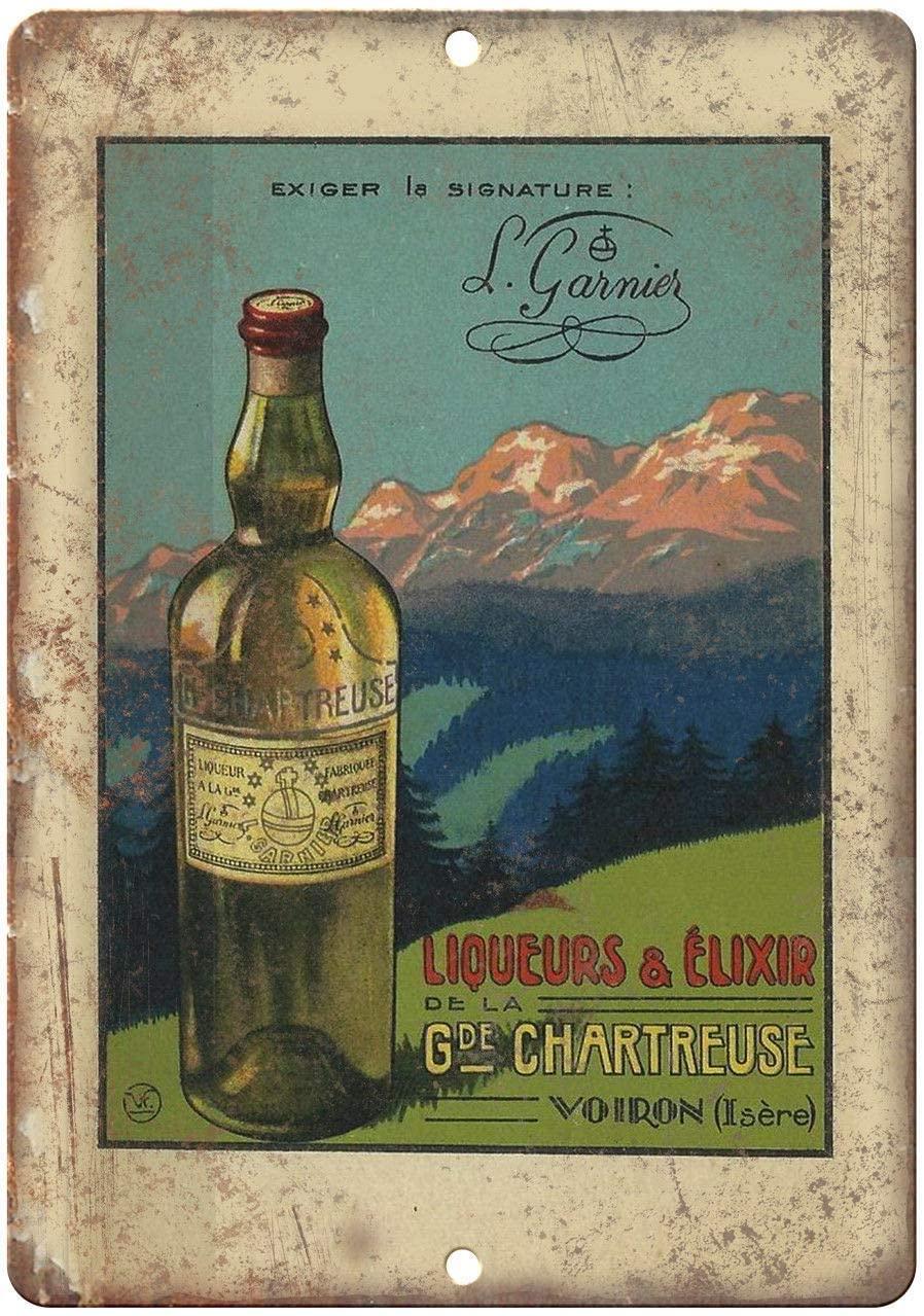 Bit SIGNSHM Chartreuse Liqueurs Liquor Ad Novelty Parking Retro Metal Tin Sign Plaque Poster Wall Decor Art Shabby Chic Gift Suitable 12x8 Inch