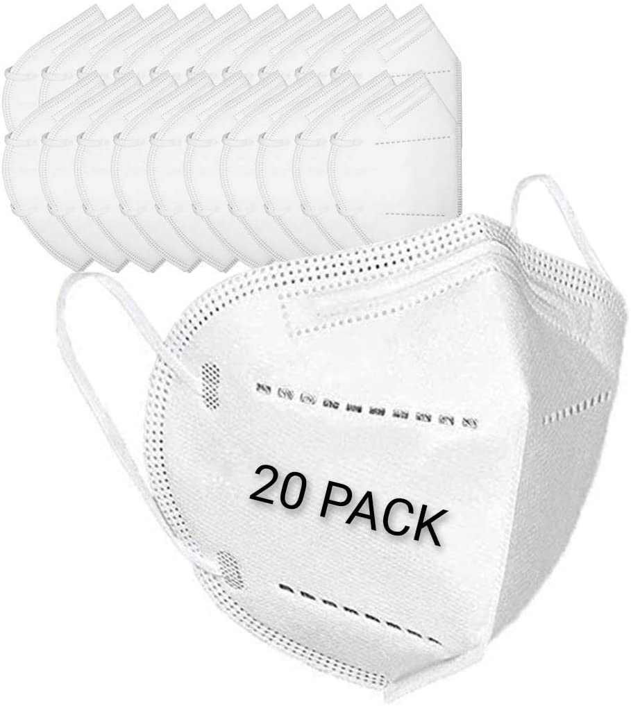 5-Ply Disposable Protective Face Masks 20 Pack 3D Foldable Fitting Design with Stretchy Ear Loops