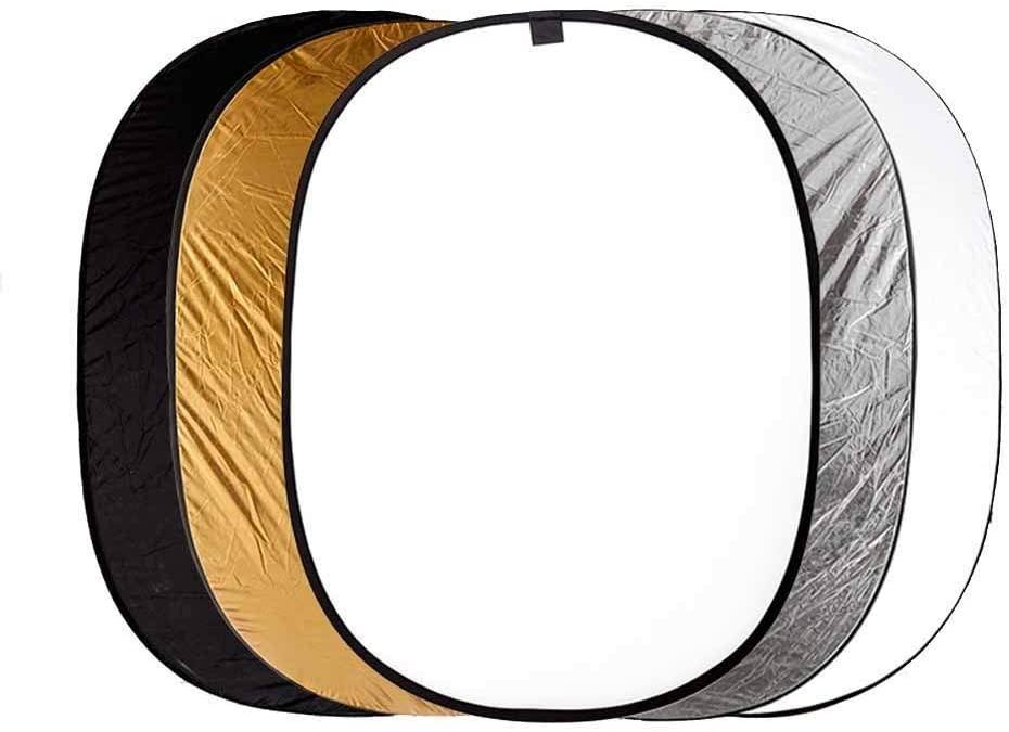 Tuuertge Reflector 5 in 1 Collapsible Multi Camera Lighting Reflector Diffuser (Translucent Silver Gold White and Black) Reflector for Studio Photo (Color : Multi-Colored, Size : 150x200cm)