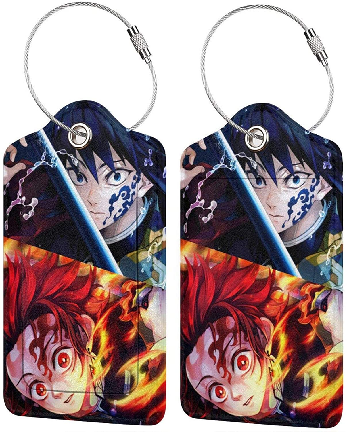 Demon Slayer Kimetsu no Yaiba Luggage tags with name ID cards can be easily carried, and luggage can be found quickly 2 PCS