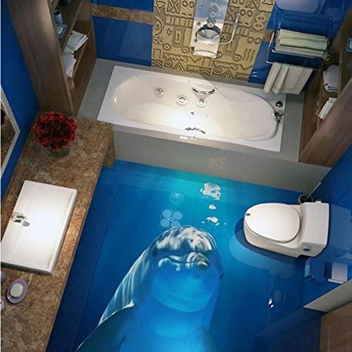 Wapel 3D Stereo Custom Flooring Ocean World Cute Dolphin Bedroom Children Room Lobby Wallpaper Mural 400Cmx280Cm