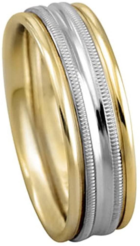 American Set Co. Men's TWO TONE 18K YELLOW GOLD PLATINUM MILGRAIN 6.5mm COMFORT FIT WEDDING BAND