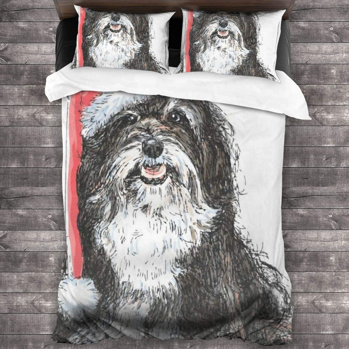N\ A 3 Pieces Duvet Cover Set (1 Quilt Cover + 2 Pillowcases) Shih Tzu Dog Extra Long Twin Size Breathable Bedding Comforter Sets Room Decor for Kids Girls Boys Teens