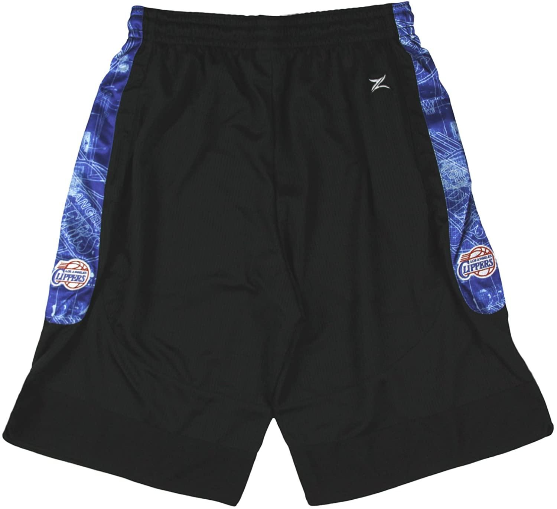 Zipway Los Angeles Clippers NBA Mens Tall Blue Print Mesh Shorts, Black