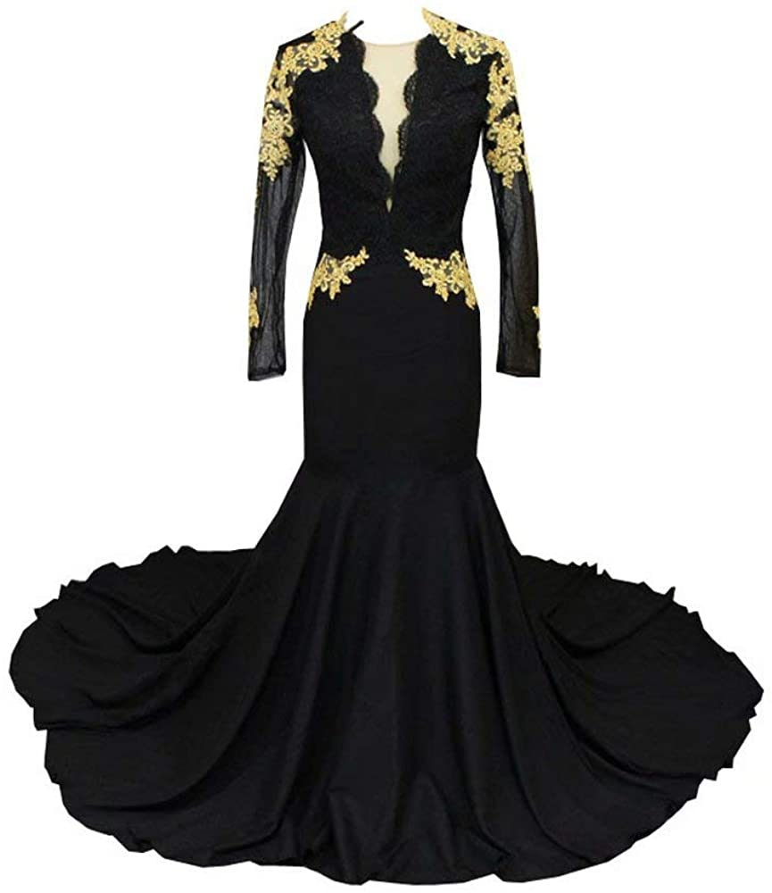 Gold Lace Applique Mermaid Evening Prom Dresses Illusion Long Sleeves with Zipper Train 2020