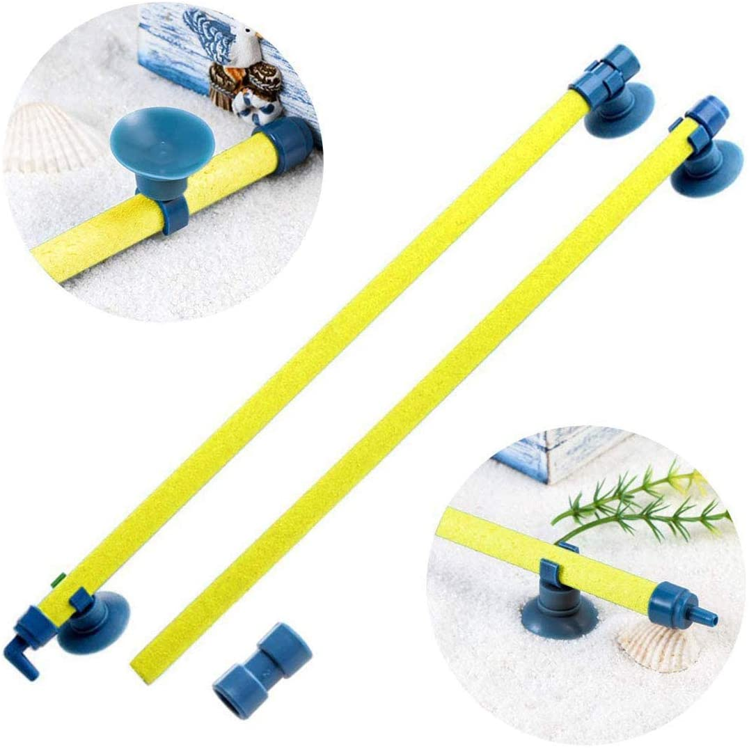 U/S Aquarium Fish Tank Bubble Wall Air Stone Bar Tube Tube Oxygen Pump Diffuser Accessory with Suction Cup (Yellow)