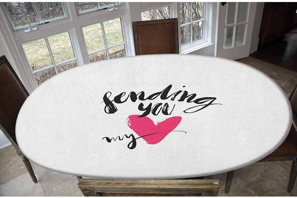 Love Elastic Polyester Fitted Table Cover,Ink Brush Hand Lettering Sending You My Heart Modern Calligraphic Design Decorative Oblong/Oval Elastic Fitted Tablecloth,Fits Tables up to 48