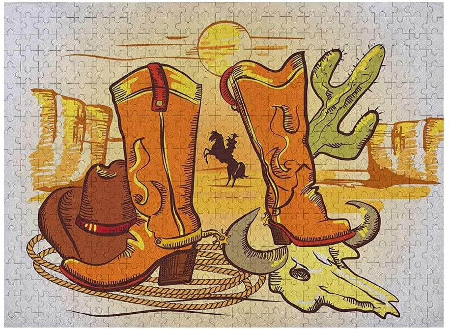 Western Jigsaw Puzzle Games 500 Piece, Illustration of Old Wild West Elements with Rope Shoes and Image of Cowboy Print, Yellow Orange
