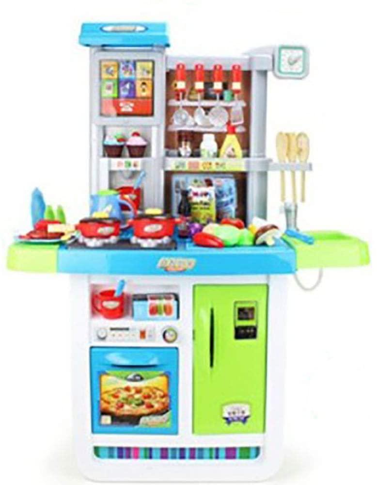 Rnwen Kids Play Kitchen Set Kids Play Kitchen Set with Oven Educational Children Pretend Kitchen Toy for Nursery 98x74x35cm Kitchen Playsets (Color : Blue, Size : 98x74x35cm)