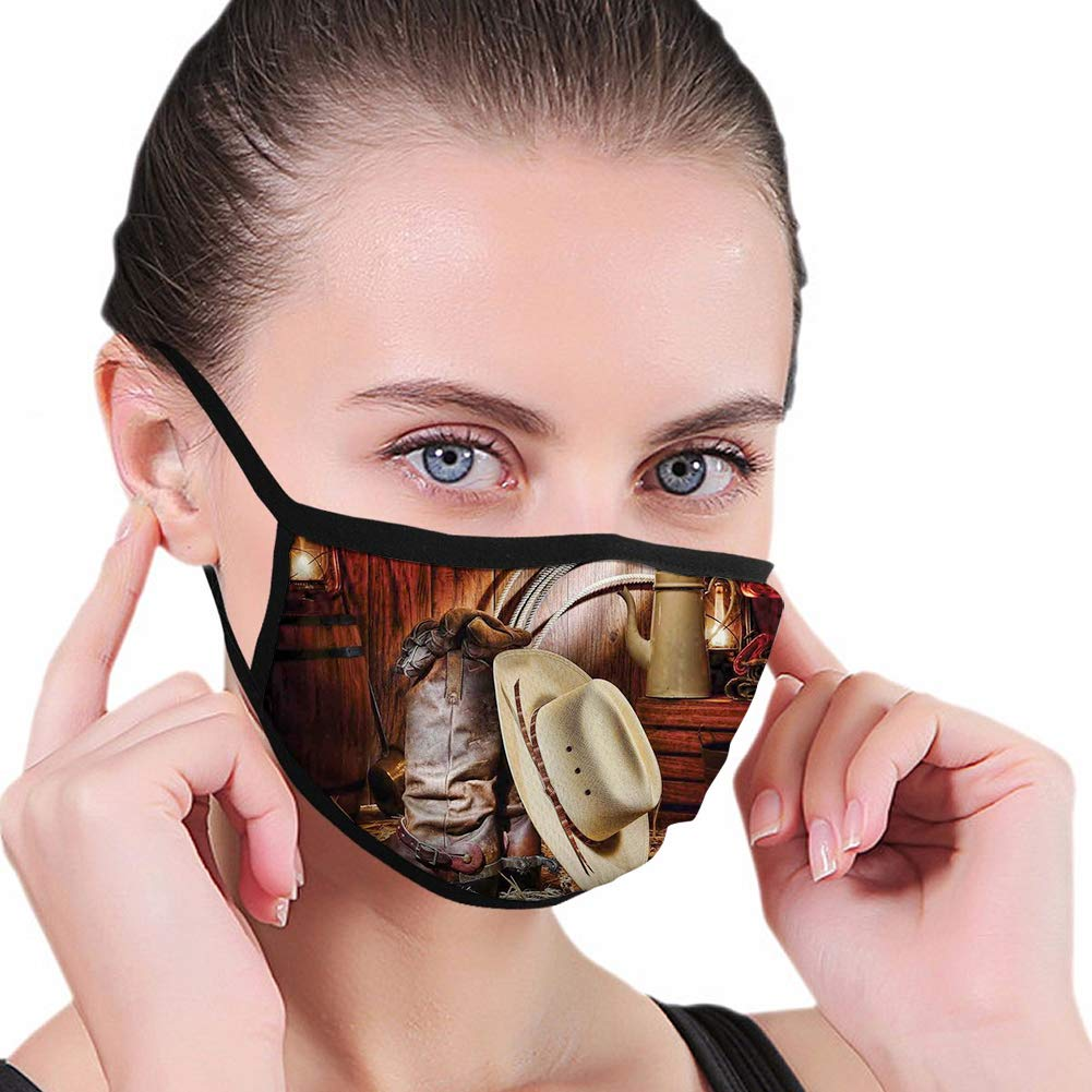Funny Activated Carbon mask,Western, American West Rodeo Elements with Antique Supplies Retro Artwork Photo,Brown Beige,Facial decorations for man and woman