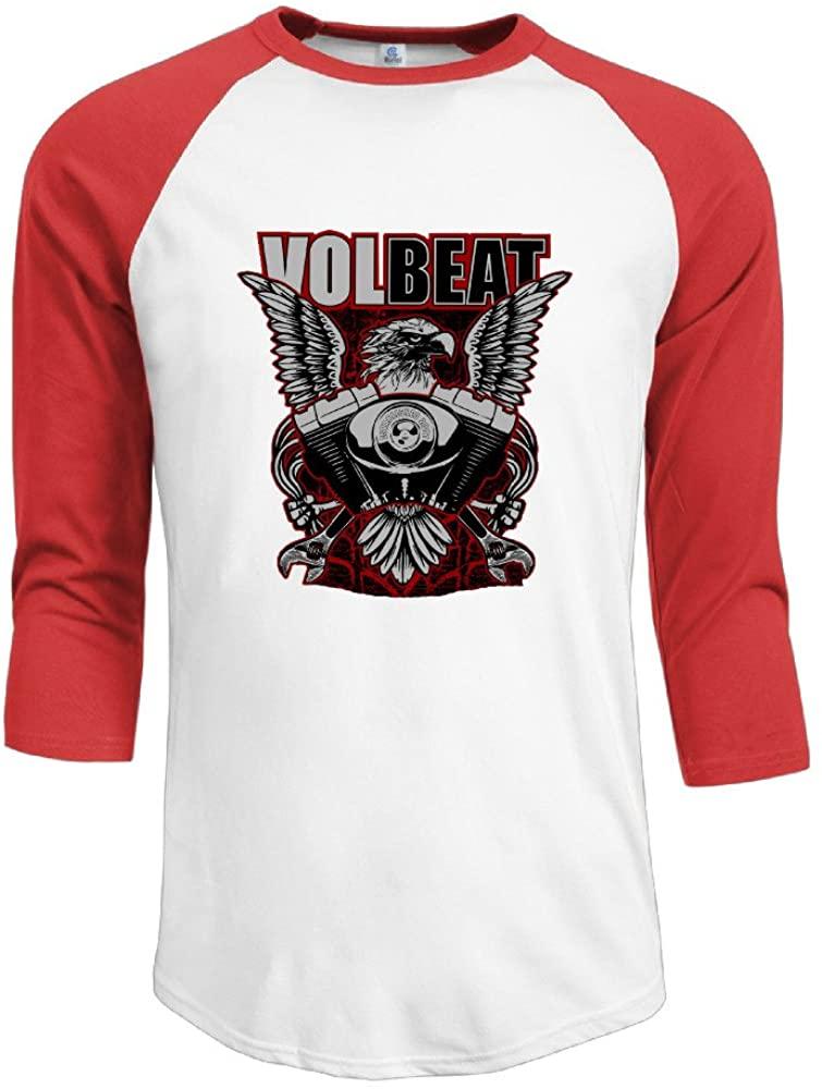 JACKP Mens Volbeat 100% Cotton 3/4 Sleeve Athletic Raglan Sleeves T-Shirt