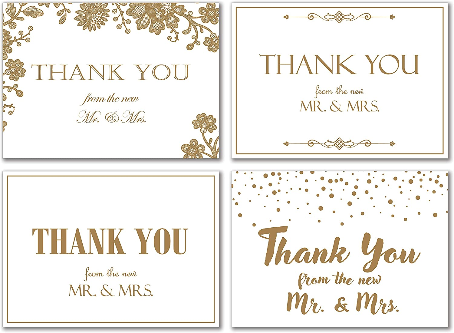 Shimmering Gold Wedding Thank You Cards - Pack of 48