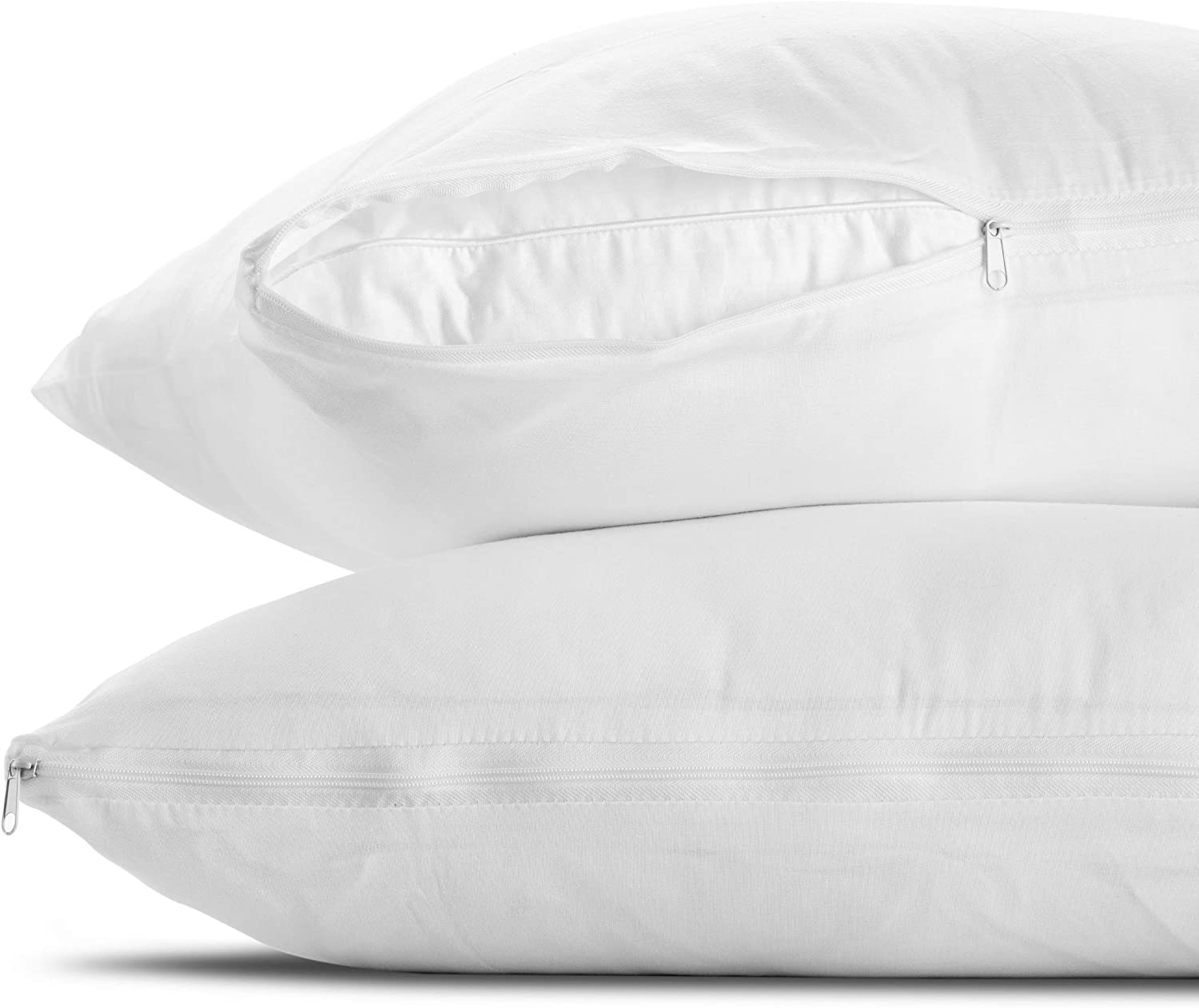 Mastertex Pillow Protectors Standard Zippered Cases 2-Pack | Poly Cotton Pillow Covers Hypoallergenic | Breathable and Quiet (Set of 2 - Standard Size)