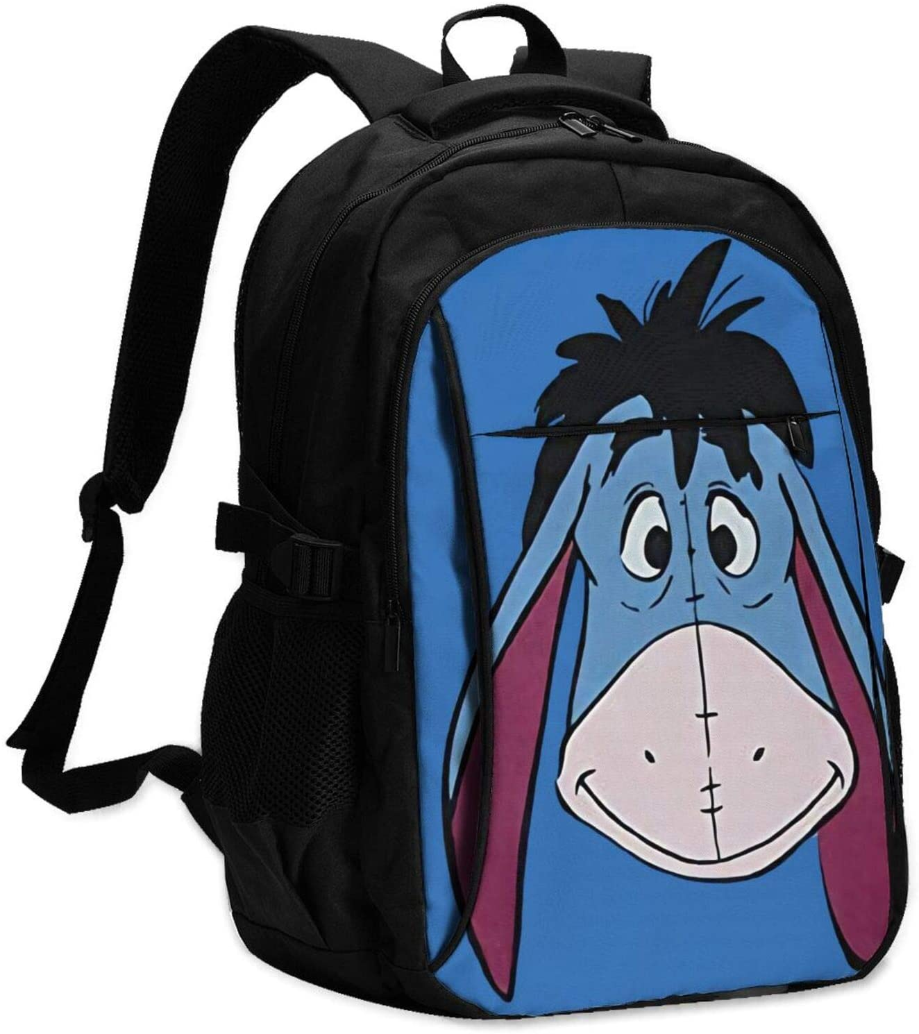 Lingassassin Eeyore Unisex Casual and Durable Large-Capacity Laptop Bag with USB Charging Port, Black Shoulders Suitable for Hiking