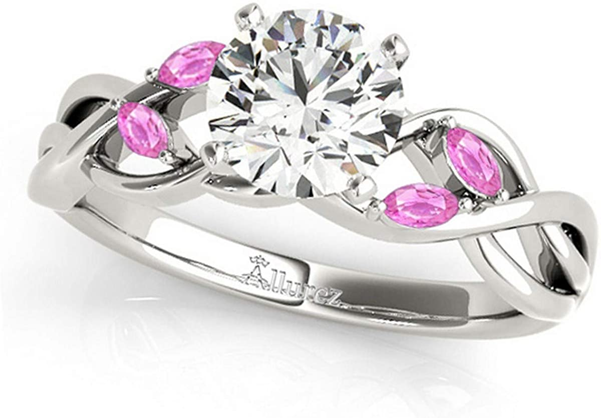 Twisted Round Pink Sapphires Engagement Ring 14k White Gold (1.50ct)