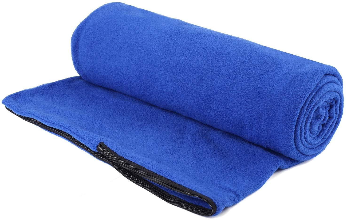Fleece Sleeping Bag Liner Travel Sheet Camping Sleep Sack Ultralight Zippered Storage Bag Full Sized Zipper Backpacking Blanket for Traveling, Camping, Hiking, Outdoor Activities