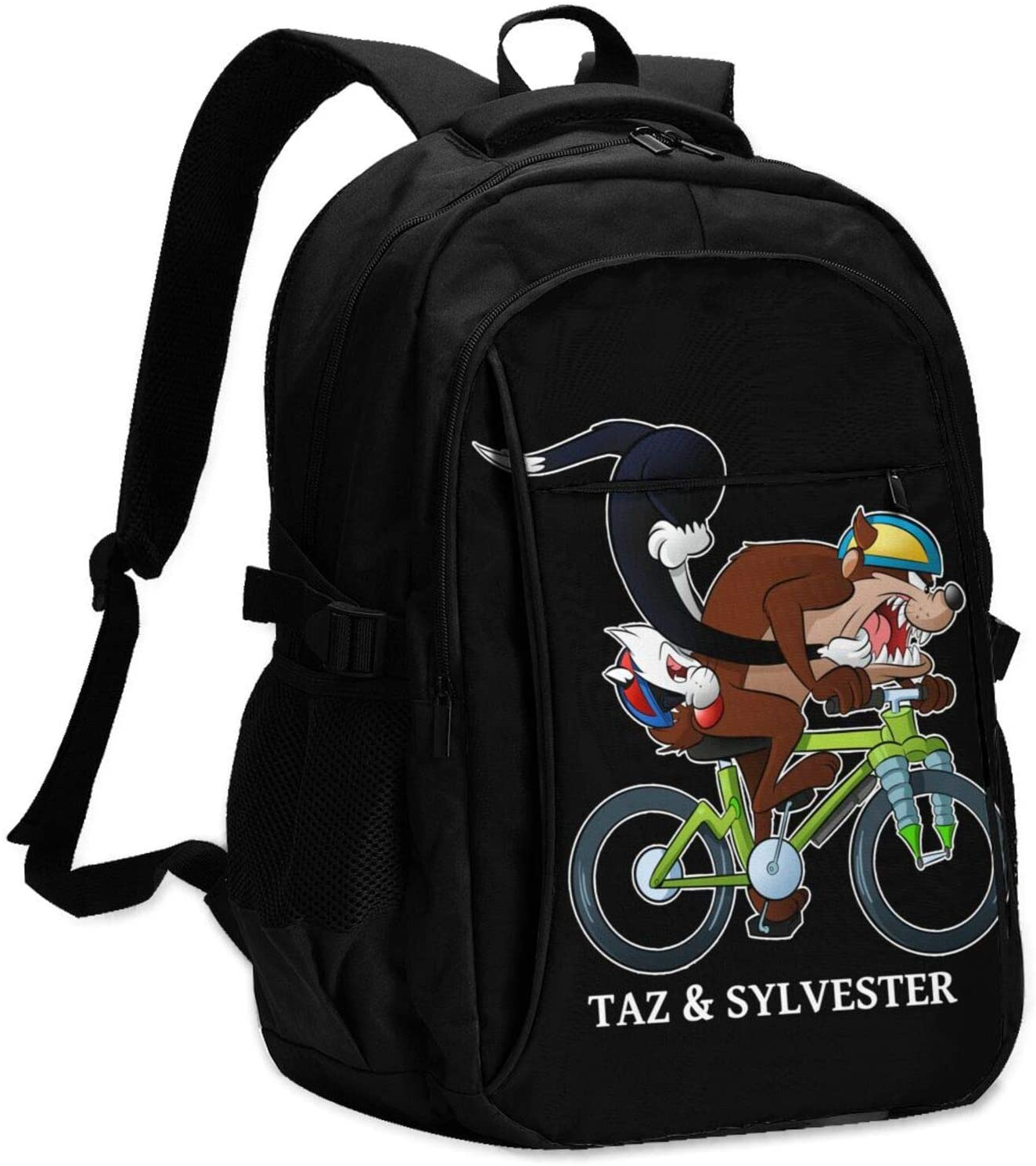 Lingassassin Taz N Sylvester Looney Tunes Unisex Casual and Durable Large-Capacity Laptop Bag with USB Charging Port, Black Shoulders Suitable for Hiking