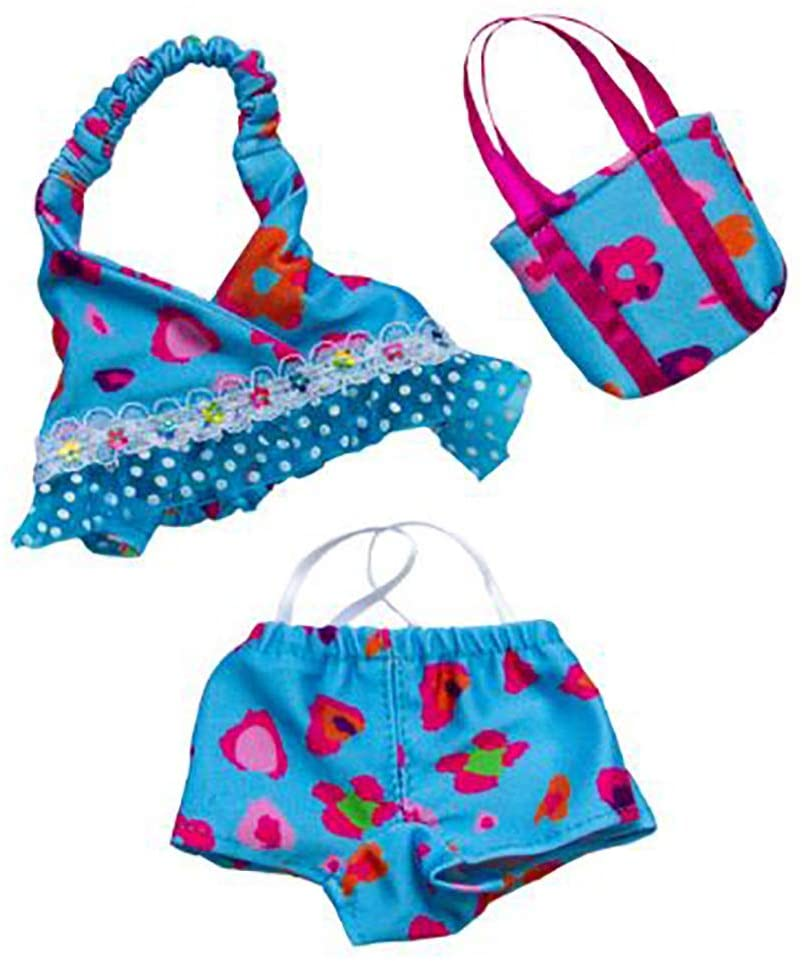 Blue Floral Tankini with Matching Bag Teddy Bear Clothes Fits 8