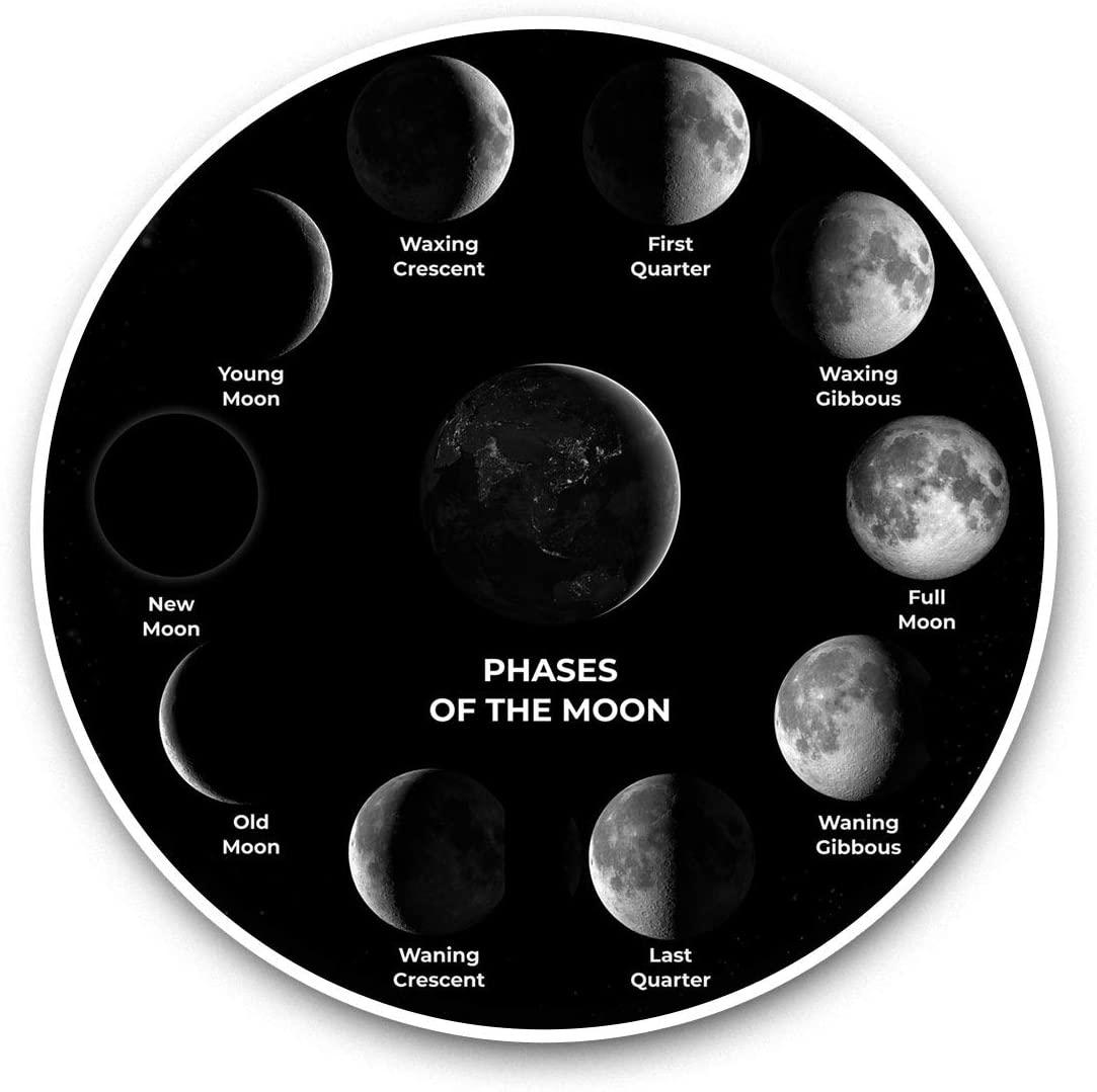 Vinyl Stickers (Set of 2) 15cm Black & White - Moon Phases Space Planet NASA Laptop Luggage Tablet #40838