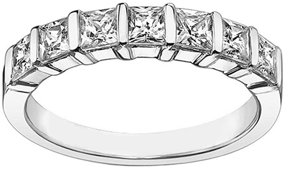 VIP Jewelry Art 1.26 CT TW Channel Bars 7-Stone Princess Cut Diamond Wedding Ring in Platinum