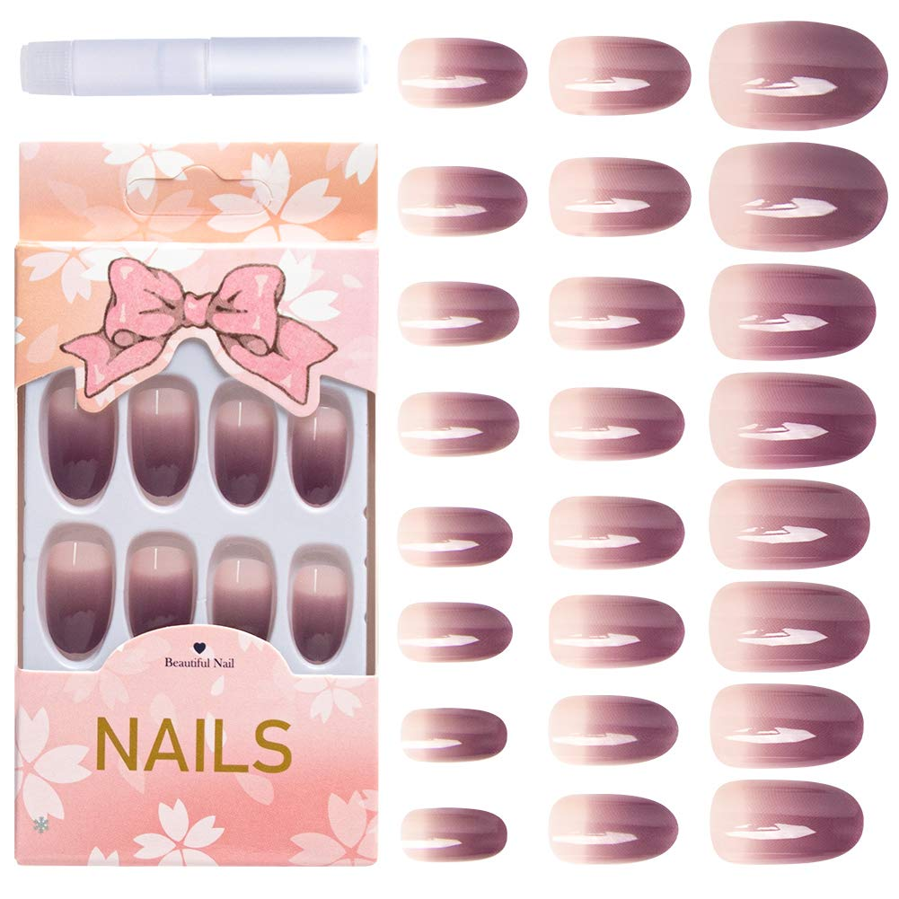 AORAEM Glue on Nails Short Full Cover Acrylic Nails 24Pcs UV Top Coat Purple Oval French Gradient Fake Nails Tip for Women(Purple)