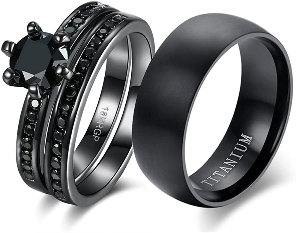 loversring Couple Ring Bridal Sets His Hers Women 18k Black Gold Plated Cz Men Titanium Wedding Ring Band Set