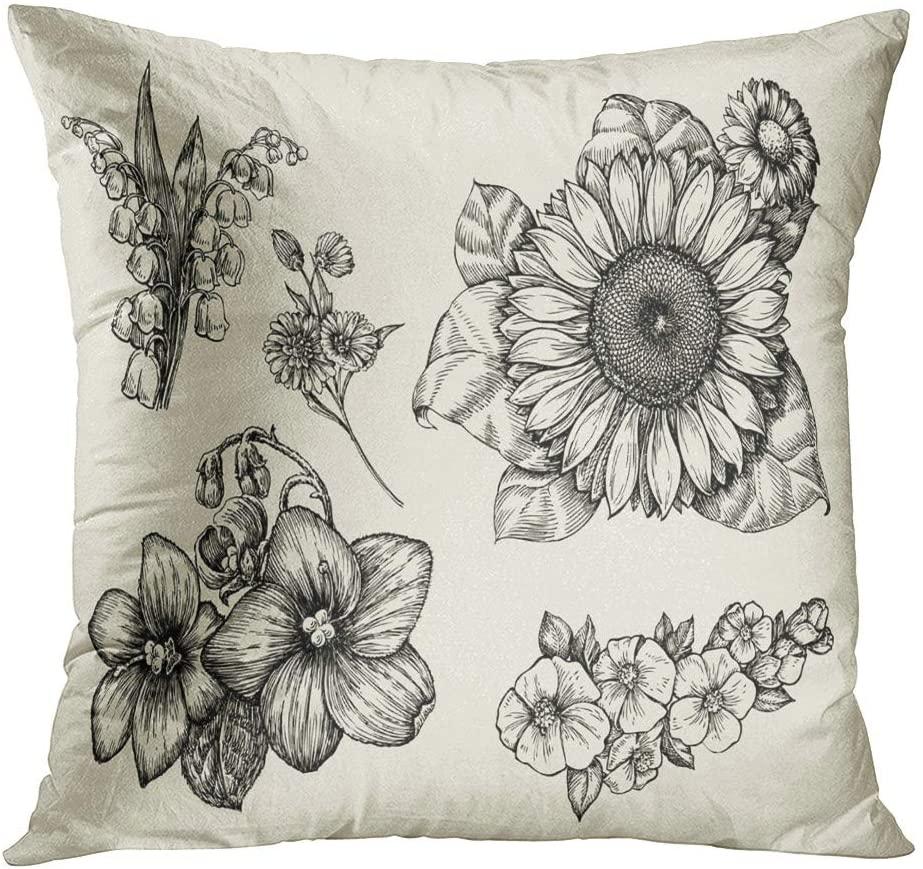 Suklly Throw Pillow Cover Square 20x20 Inch Flowers Hand Drawn Sketch Flower Sunflower Cushion Home Sofa Decor Hidden Zipper Polyester Pillowcase