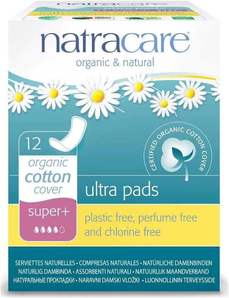 Natracare Natural Ultra Pads Organic Cotton Cover, Super Plus, 12 Count, Pack of 1