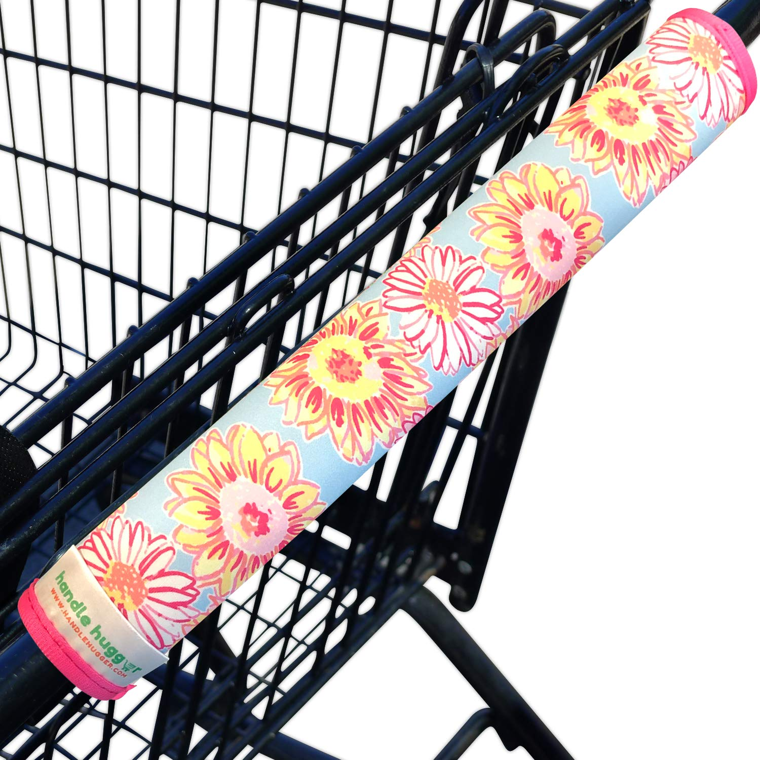 Shopping Cart Handle Cover by Handle Hugger for Grocery, Trolley, Buggy, Carriage, or Supermercado Handles | Travel Accessory | Kid Friendly | Reversible, Compact,Reusable, Washable (Sunflowers)
