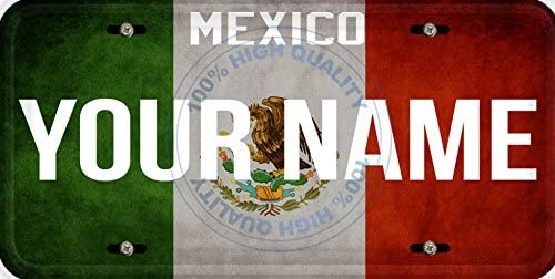 BleuReign Personalized Custom Name License Mexico Flag Car Vehicle License Plate Auto Tag