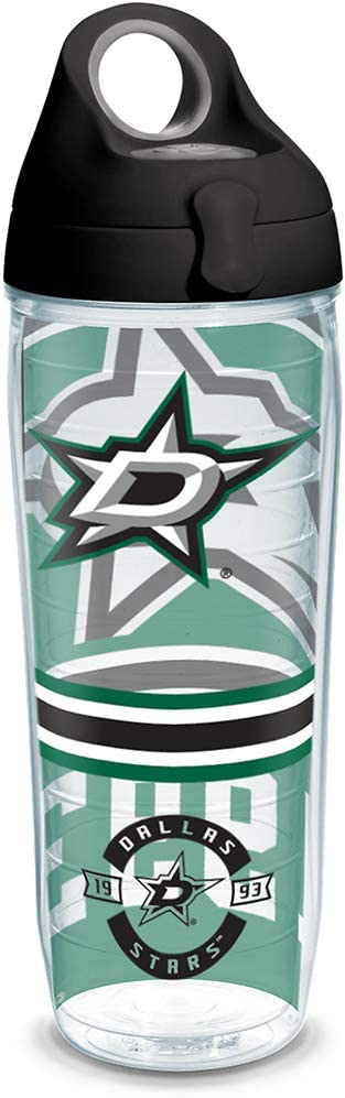 Tervis NHL Dallas Stars Top Shelf Insulated Tumbler with Wrap and Black with Gray Lid, 24oz Water Bottle, Clear