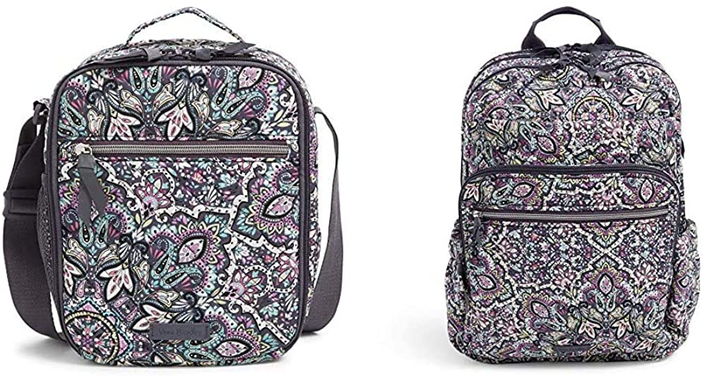 Vera Bradley Signature Cotton XL Campus Backpack & Deluxe Lunch Bunch Combo