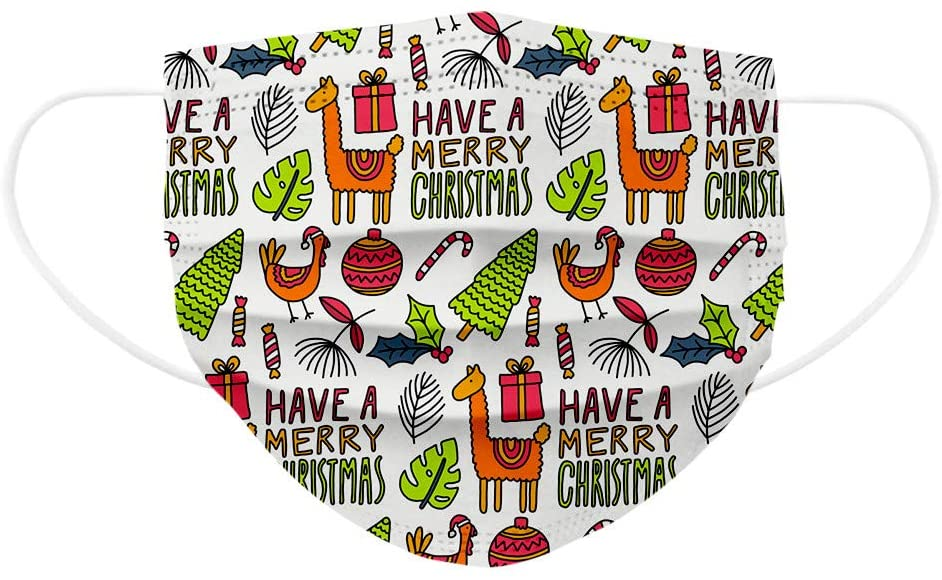 10PC Disposable Christmas Day Print Face Mask for Kids, Cute Cartoon Pattern Print, Breathable 3 Ply Design Face Masks for Childrens Colorful Fashion Face Covering Mask for Kids with Ear Loop