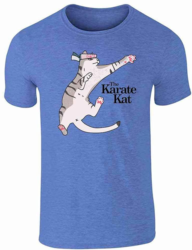 The Karate Kat Funny Cat Meme Heather Royal Blue L Graphic Tee T-Shirt for Men