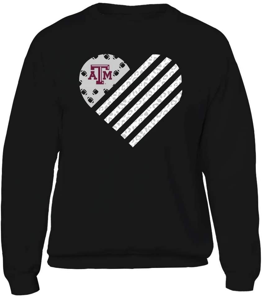 FanPrint Texas A&M Aggies Sweatshirt - Football - Leopard Flag - Heart - Crewneck Sweatshirt/Black/L