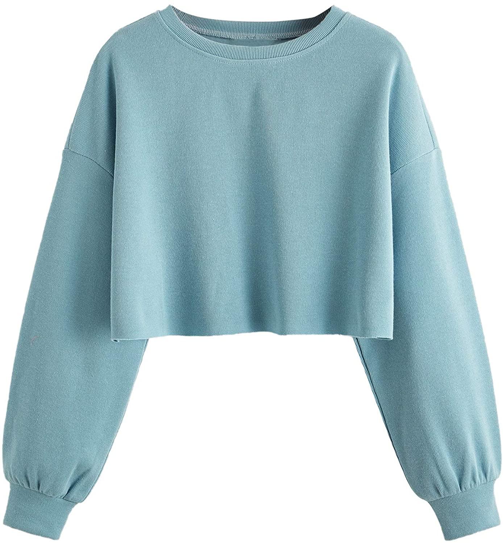 Romwe Women's Casual Long Sleeve Crew Neck Raw Hem Crop Tops Sweatshirt