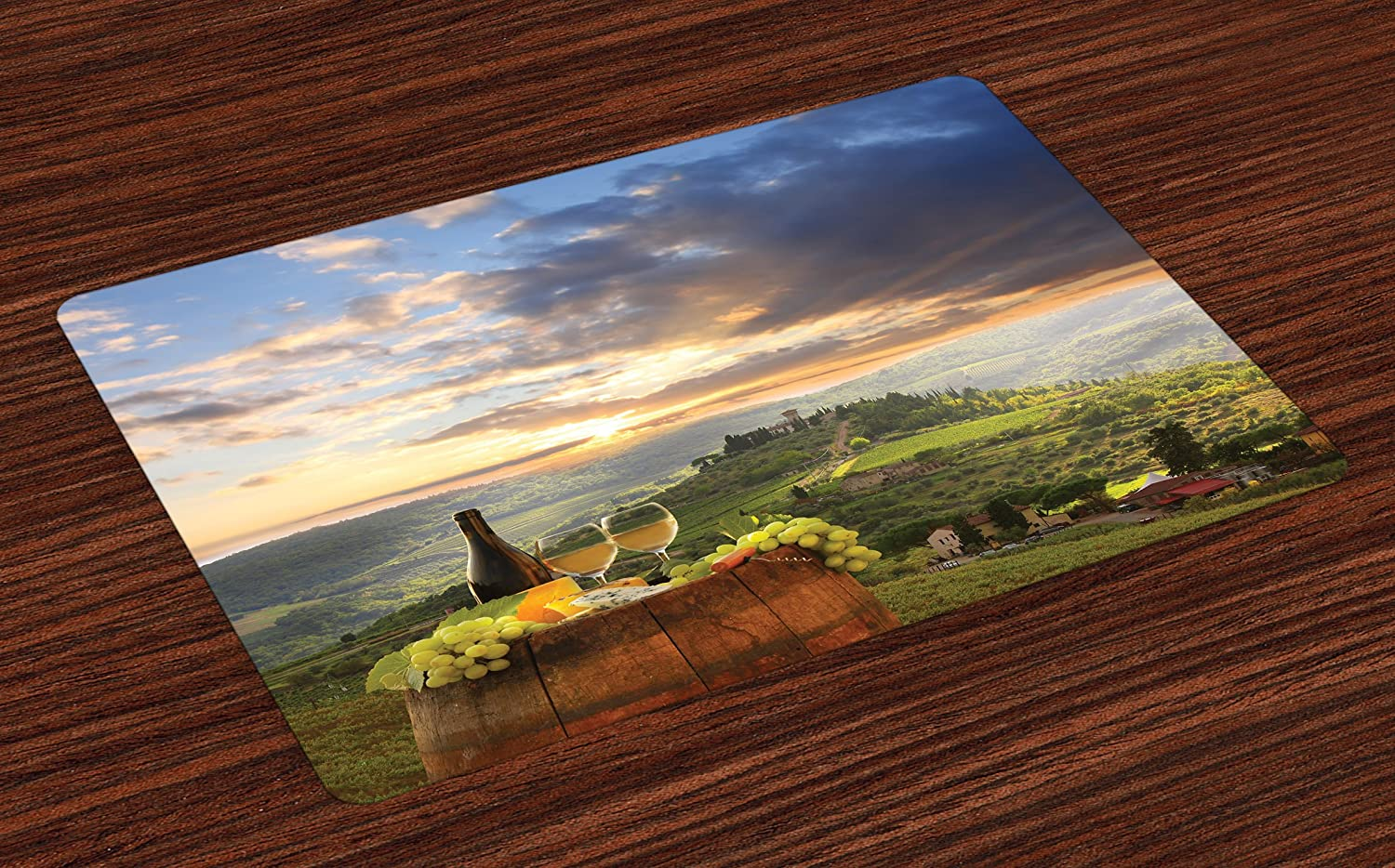 Lunarable Winery Place Mats Set of 4, Vineyard in Chianti Tuscany Italy Autumn Sunrise Dramatic Clouds, Washable Fabric Placemats for Dining Room Kitchen Table Decor, Lime Green Pale Blue Yellow
