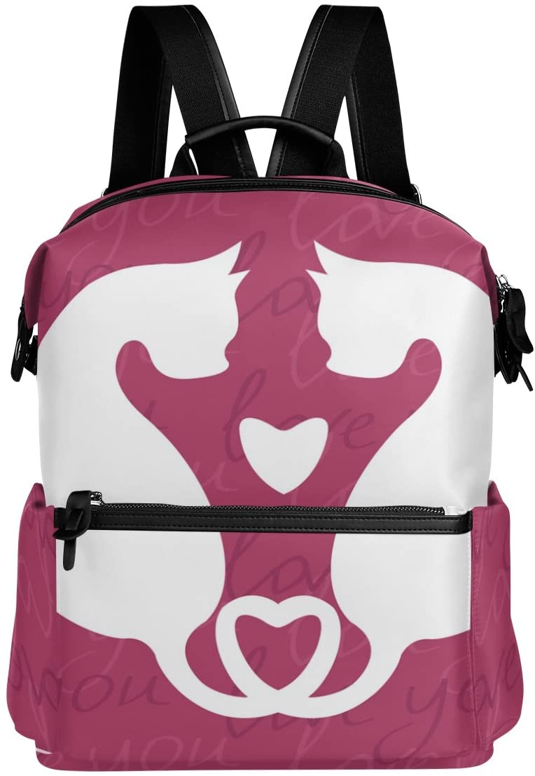 ALAZA Cat Love Heart Casual Backpack Lightweight Travel Daypack Student School Bag