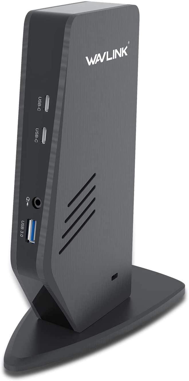 WAVLINK USB C Dual 4K Universal Laptop Docking Station with 65W Charging, Dual 4K & Single 5K@60Hz Display for Windows, Mac OS, Chrome OS, Android 5.0 Later (2 HDMI & 2 DP, 5 USB 3.0 A&C, LAN, Audio)