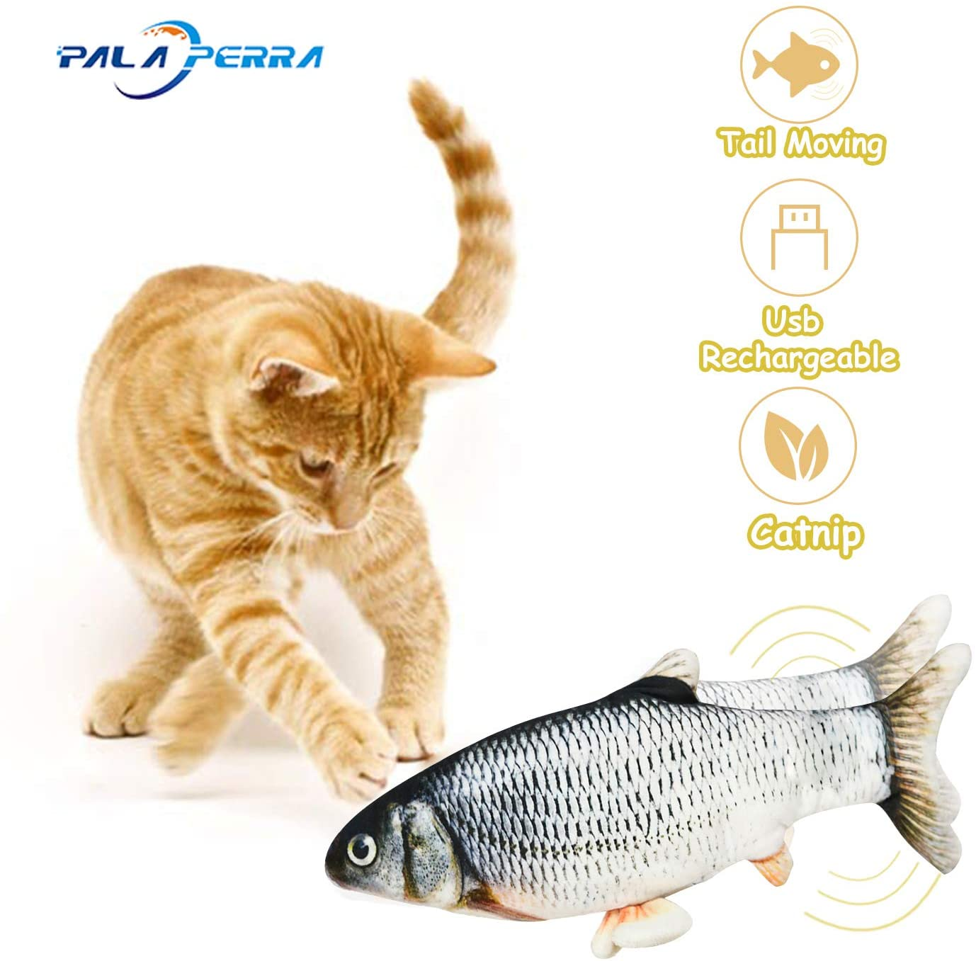 PALA PERRA Catnip Toy, Electric Moving Fish Cat Toy with Catnip, Realistic Plush Simulation Electric Wagging Fish Cat Toy for Cat Exercise, Funny Interactive Pets Pillow Chew Bite Kick Supplies