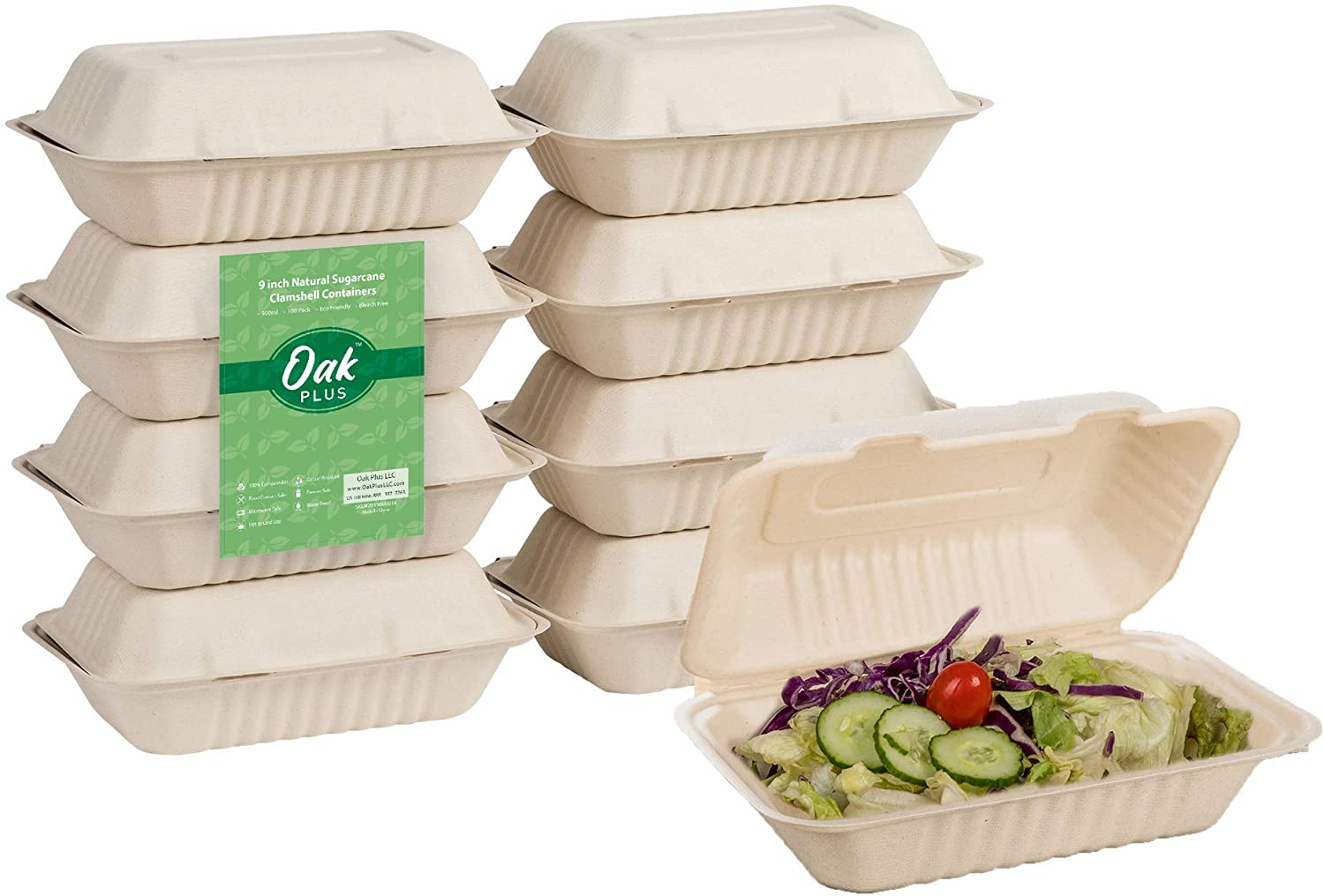 Oak Plus Compostable Clamshell Takeout Containers [6X9 300-Pack], to Go Food Boxes with Lids, Eco-Friendly Meal Prep Storage Containers, Microwave Safe - Sugarcane Fiber