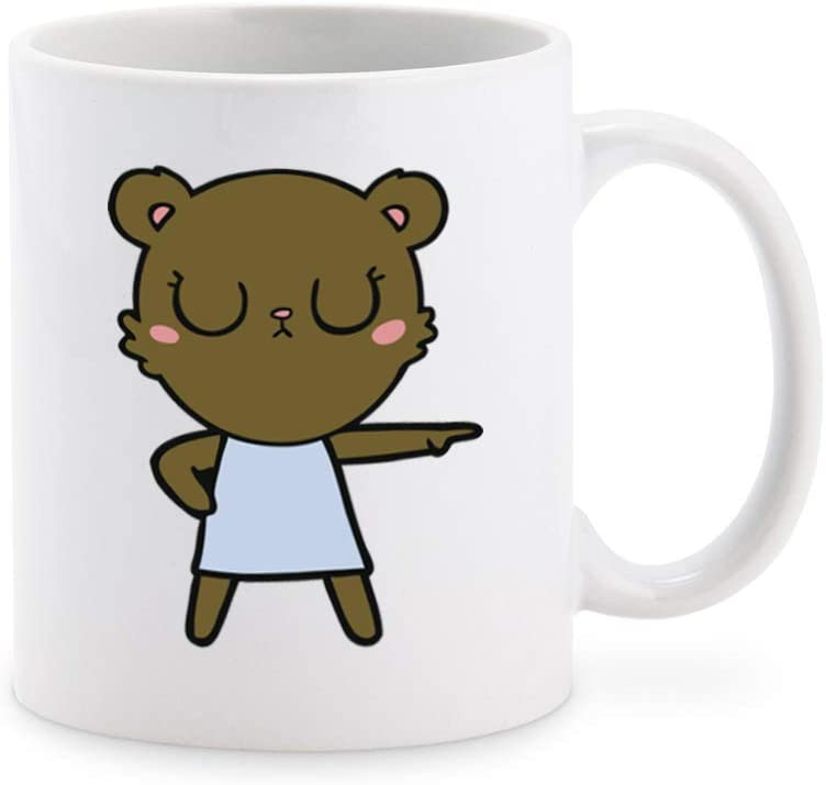 Cute Kawaii Brown Bear Pen Art Cartoon - Angry Coffee Mug Tea Cup Novelty Gift Mugs 11 oz