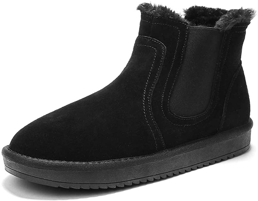 Mens Snow Boots Winter Warm Fur Lined Outdoor Shoes Waterproof Ankle Booties Anti-Slip Black(10 M US Men - 11 M US Women,27 cm Heel to Toe