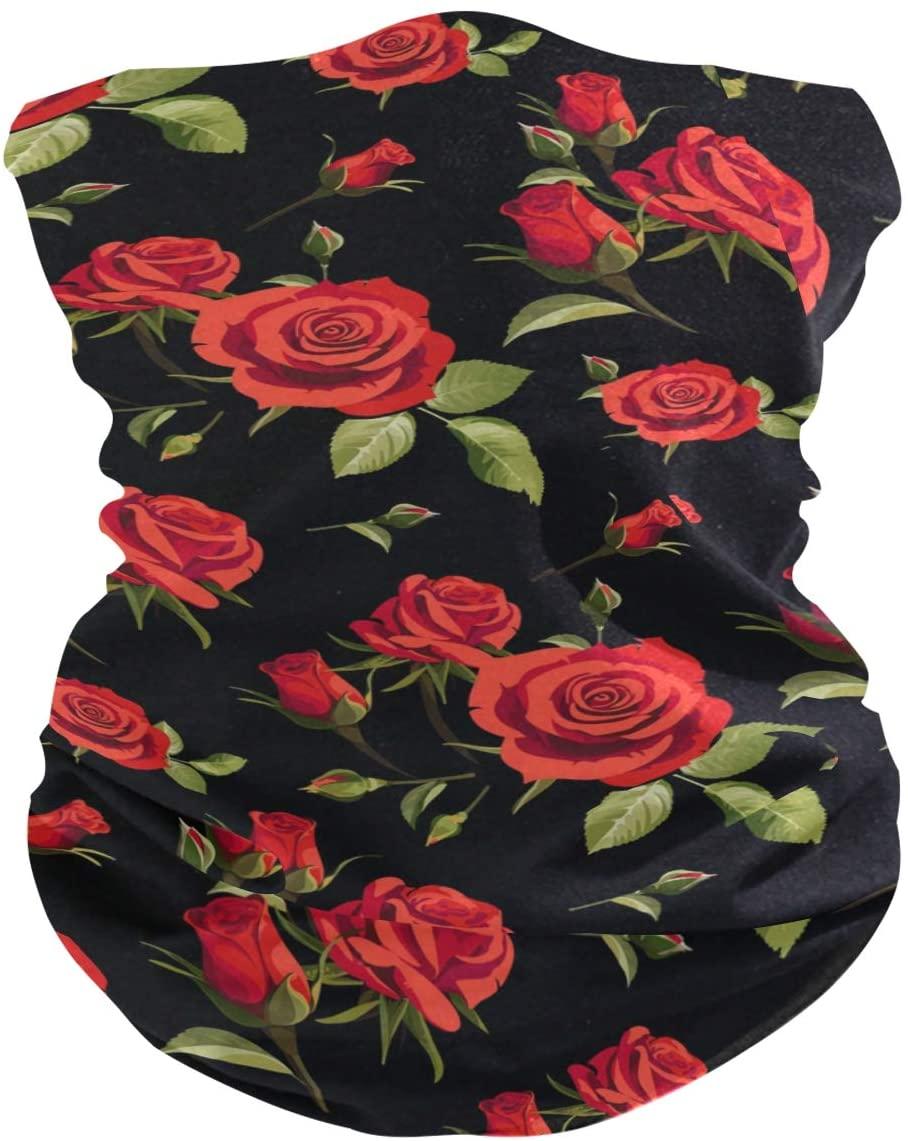 Moudou Rose Flower Face Mask Bandana for Men Women Kids Dust Wind Sun Protection Neck Gaiter for Motorcycle Riding Biker Fishing Cycling Running Sports Festival