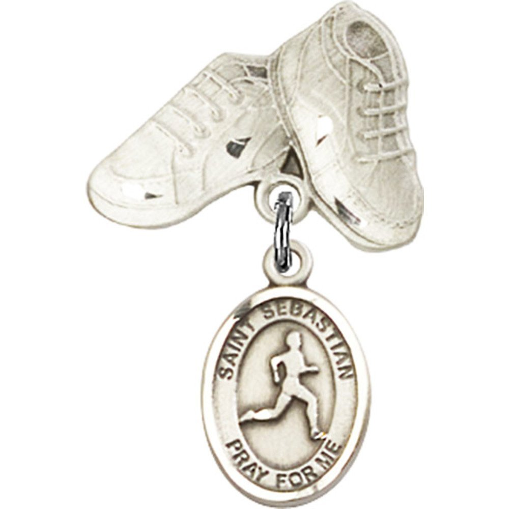 Sterling Silver Baby Badge with St. Sebastian/Track & Field Charm and Baby Boots Pin 1 X 5/8 inches