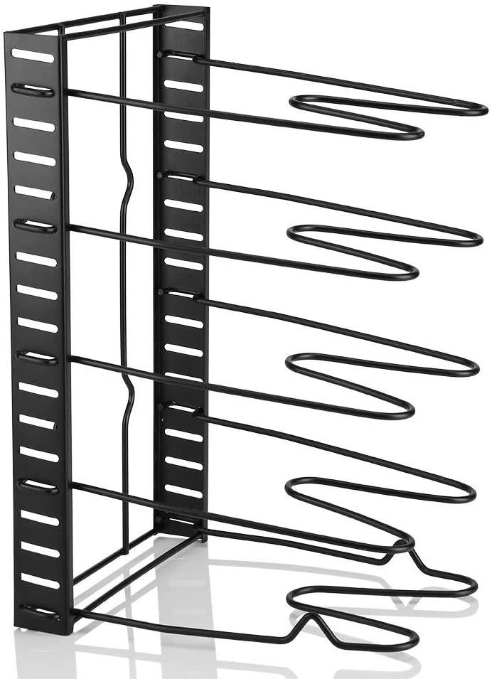 AYNEFY Pot Storage Holder Height Adjustable Pan Organizer 5-tier Lid Rack for Storge Tools Kitchen Restaurant Equipment (Black)