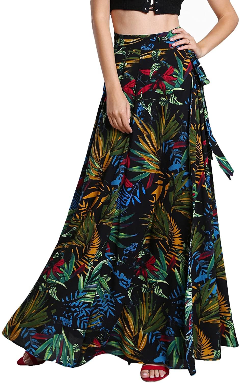 Milumia Women's Bohemian Tropical Floral Print Self Tie Wrap Skirt Long Maxi Skirt