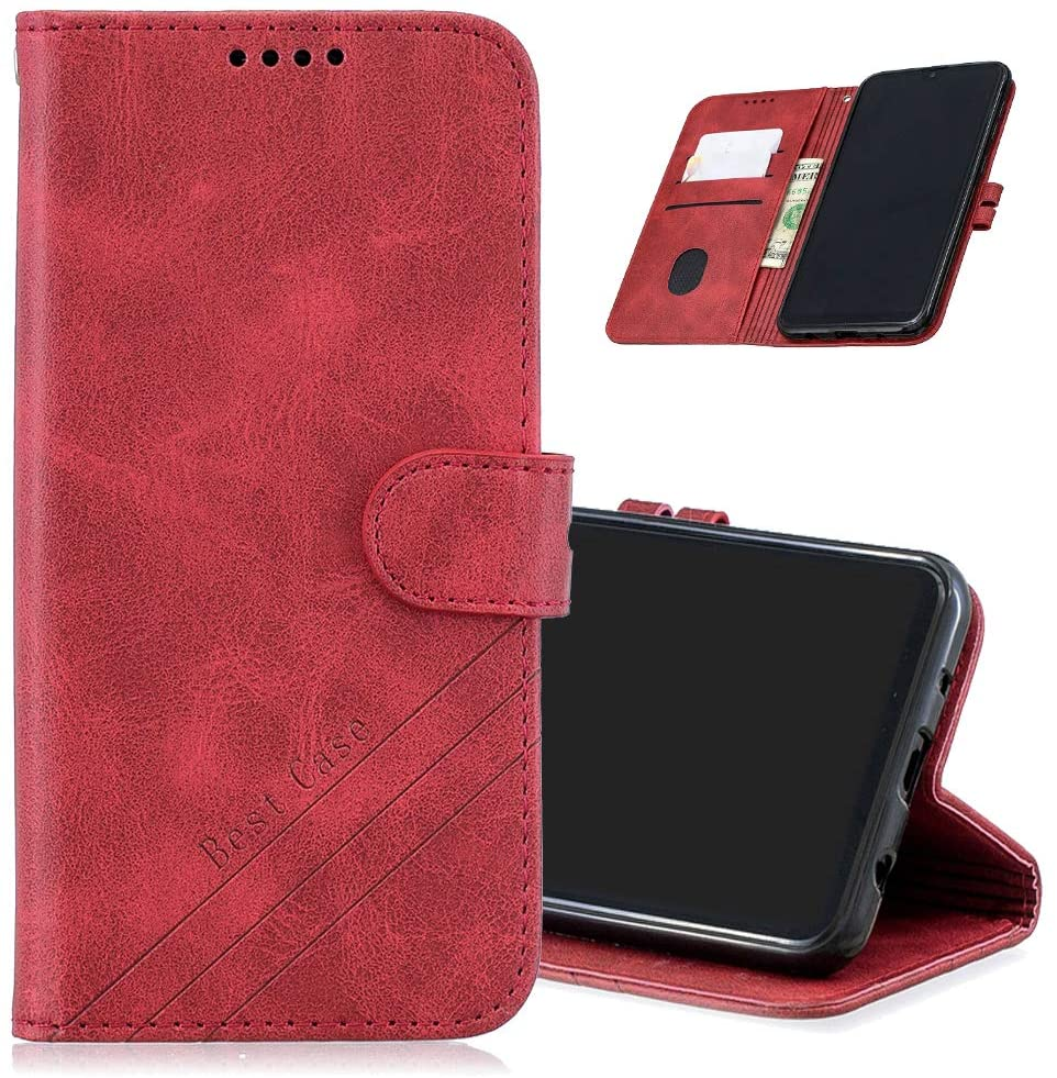 MRSTERUS for Galaxy A70 Case Luxury Leather Retro PU Leather Wallet Protective Cover Magnetic Holder Folio flip Phone Cover with Credit Card Slot and Base Fixed Box for Galaxy A70 Red HX