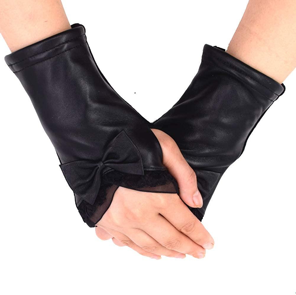 IFSUN Women Winter Leather Gloves Knit Fingerless Thumb Hole Mittens Arm Warmers