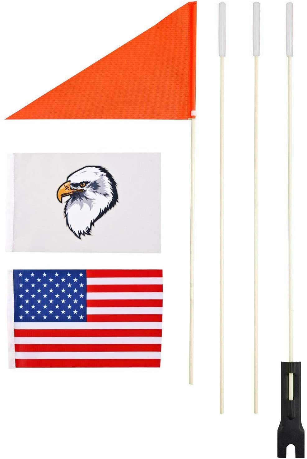 Upgraded Bike Flags with Pole 6 ft High Visibility Orange flags with Heavy Duty Fiberglass Flag Pole, Orange Flag, Eagle and American Flag